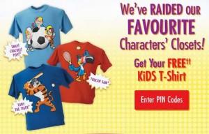 Kellogg's回馈消费者赠送免费儿童T恤