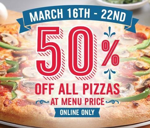 Domino's Pizza网站下单订购披萨全部半价,可店内自取,本周日截止