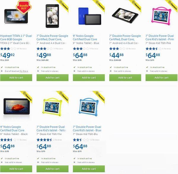 Walmart多款平板电脑44.88-64.88元清仓