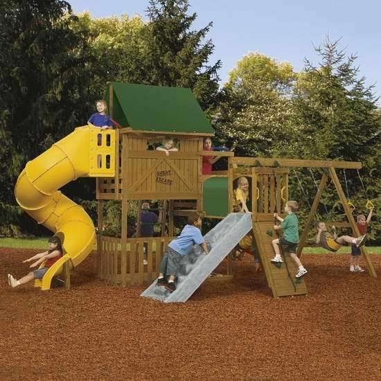 PlayStar Great Escape Ready to Assemble Gold Play Set儿童秋千滑梯组合