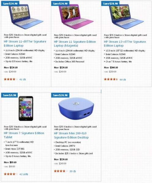 HP Stream 11寸13寸上网本、7寸平板电脑、迷你台式机9折特卖,另送25元礼品卡
