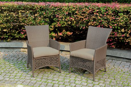 Woven Wicker Patio Dining Chairs with Seat Pads室外藤椅(两只装)