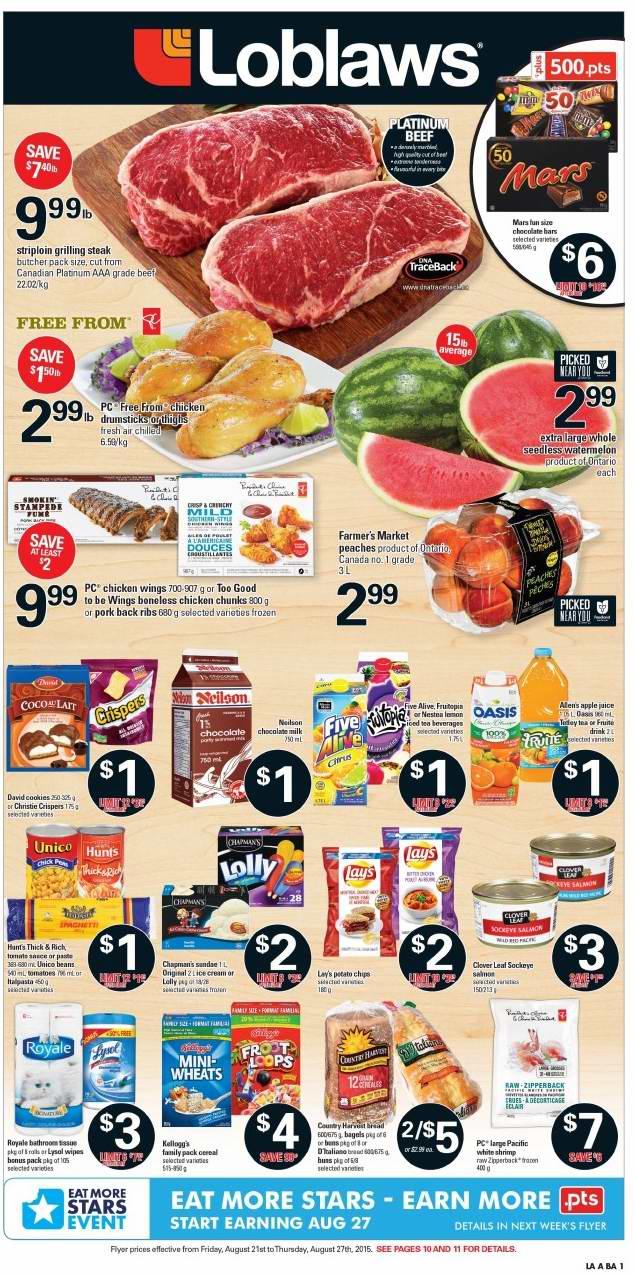 Loblaws超市本周(2015.8.21-2015.8.27)打折海报