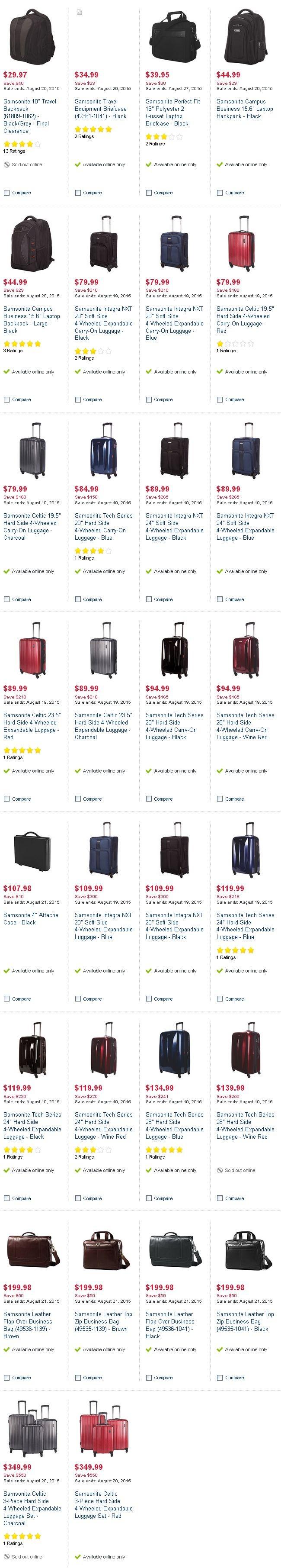 Best Buy 多款Samsonite行李箱背包2.5折起特卖
