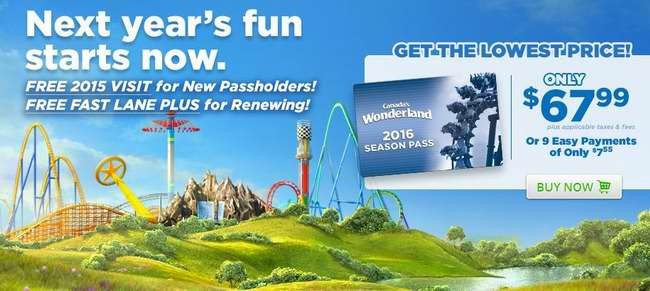 Canada's Wonderland 2016季票67.99元限时特卖,送今年一日门票,续费送今年Fast Lane Plus!