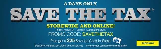 Lowe's 全站免税,店内消费满150元送25元礼品卡,满175元优惠25元,大家电8.5折