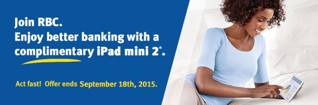9月18日,新开RBC银行账户送iPad mini 2