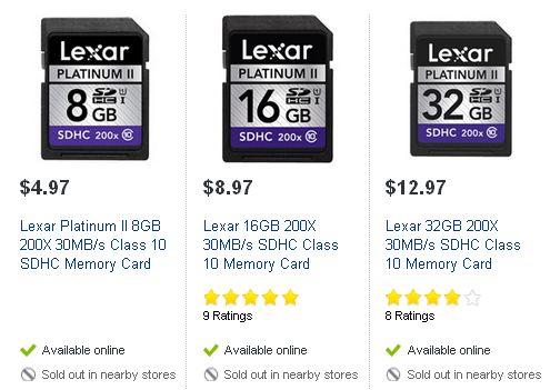 Lexar 8GB/16GB/32GB 200X 30MB/s SDHC Class 10 Memory Card储存卡
