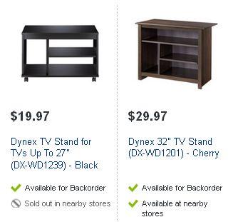 "Dynex TV Stand for TVs Up To 27"" (DX-WD1239) - Black 及 Dynex 32"" TV Stand (DX-WD1201) - Cherry 电视柜半价清仓"