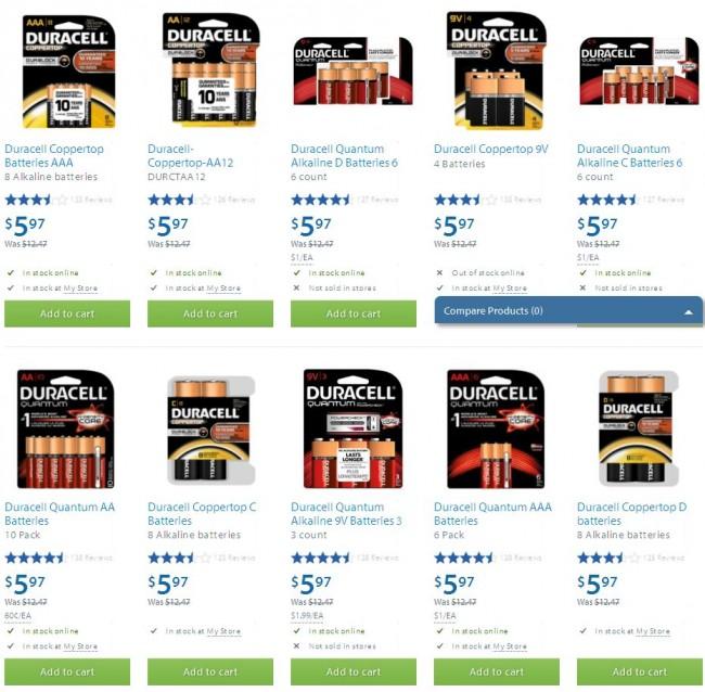 Walmart多款Duracell金霸王系列高效碱性电池5.97元特卖