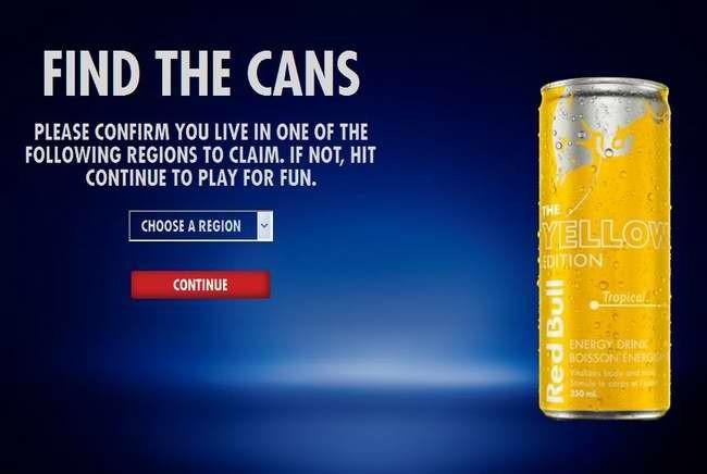 参加找红牛小游戏,免费获取红牛运动饮料1罐(仅限BC, AB, MB, SK)