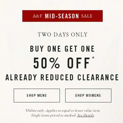 Abercrombie & Fitch 季中特卖,指定款服饰2折起清仓,买第二件半价,额外再打8.5折