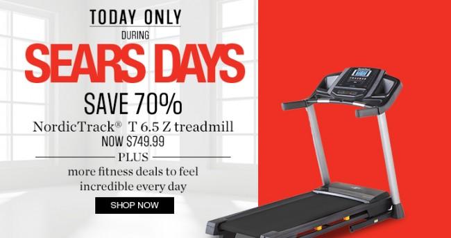 Sears 跑步机等运动设备3.5折起特卖,指定款运动服饰5折起,运动鞋4-6折,仅限今日