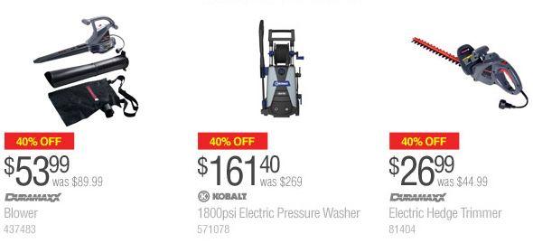 Lowe's 指定款电动树叶吹风机、高压清洗机、电动修枝机6折特卖,满50元优惠10元