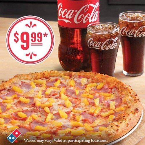 Domino's Pizza网站下单订购大号2-Topping Pizza及2升装可乐饮料只需9.99元