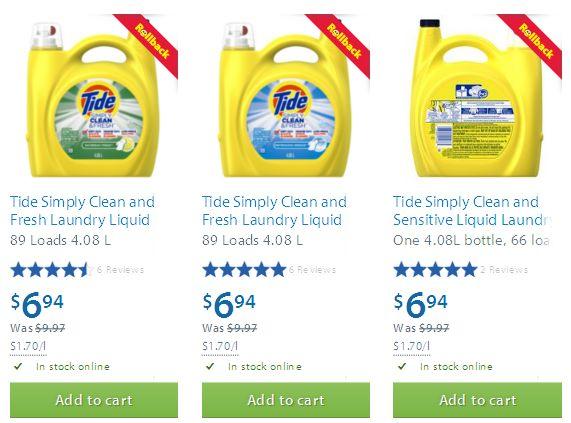 三款Tide Simply Clean and Fresh 4.08升汰渍洗衣液6.94元特卖
