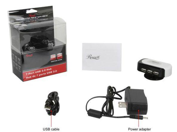 Rosewill RHB-320W - 7-Port USB 2.0 / 1.1 Hub USB集线器(7口、自带电源)