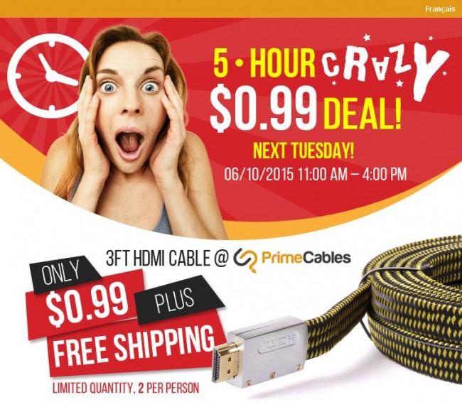 全场0.1折起清仓并包邮!HDMI高速传输线Premium Flat HDMI High Speed Ethernet Cable with Nylon Jacket 0.99元包邮特卖,仅限本周二 11点-16点!