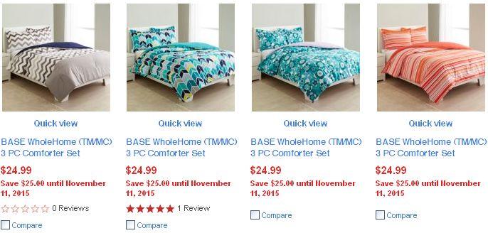 4款BASE WholeHome (TM/MC) 3 PC Comforter Set 被子枕套三件套只需14.99元!