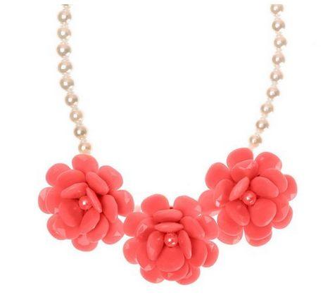 ZLYC时尚女装 3朵粉红色玫瑰花珍珠项链特价14元,原价39元,包邮