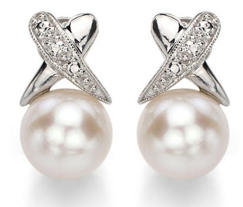 La Regis Jewelry 纯银幻觉的X风格-白色淡水珠耳钉特价118.99元,原价517.99元,包邮