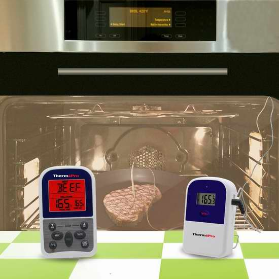 不用再担心烤糊了!ThermoPro TP-11 300英尺无线远程温度计\计时器4.2折42.49元限量特卖并包邮!温度时间双提醒,可精确探测-9℃〜250℃