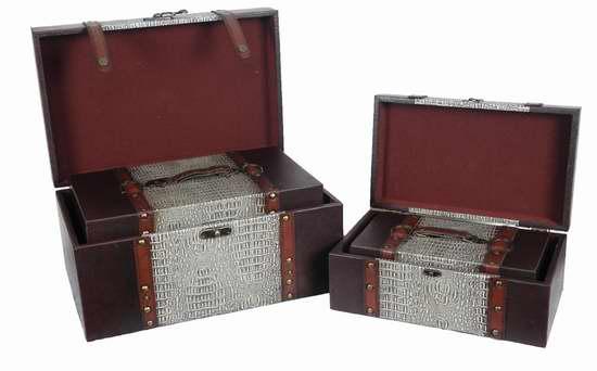 Quickway Imports 仿古人造革木质百宝箱4件套42.18元限时特卖!