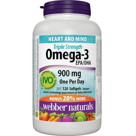 Webber Naturals 三倍强效 Omega-3 鱼油 900mg 120粒装 19.97元特卖!