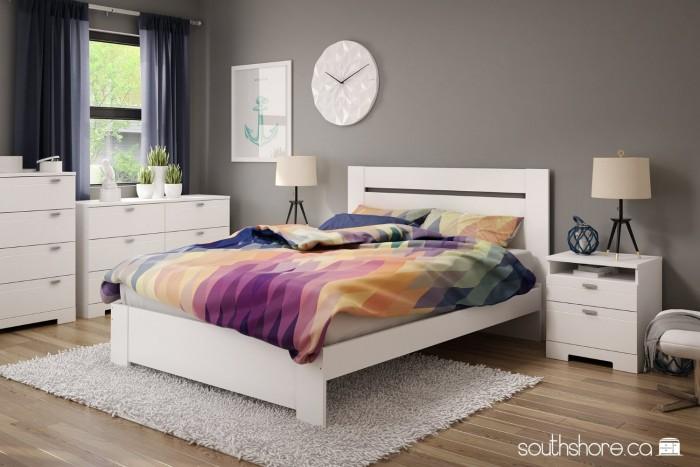 South Shore Furniture 3840010  白色梳妆台特价149.98元,原价214.98元,包邮