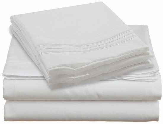 Clara Clark Premier 1800 Collection Queen 床单枕套4件套2.4折 31.42元限时特卖并包邮!