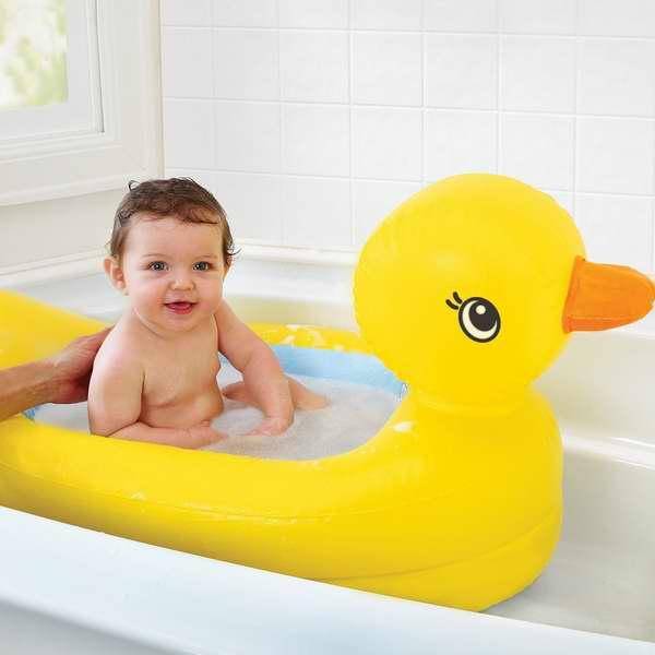 Munchkin 宝宝充气大黄鸭浴缸,带水温警示 13.99元特卖!