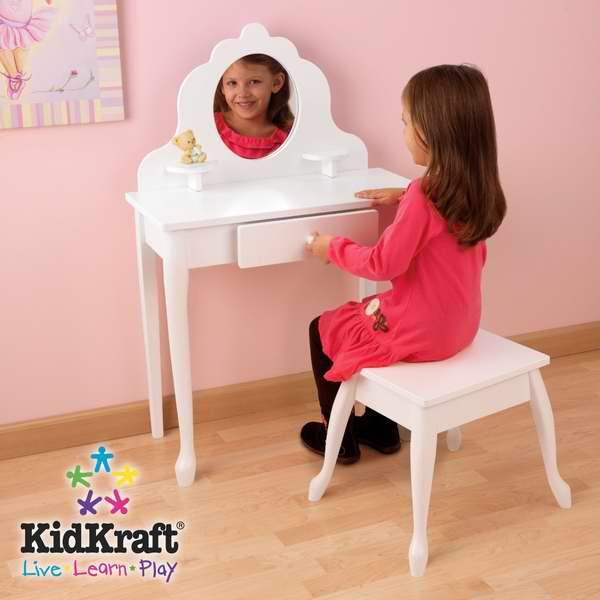 历史最低价!KidKraft 女童梳妆台及凳子套装3.9折 132.99元限时特卖并包邮!