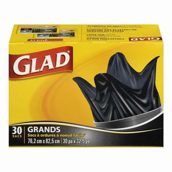 Glad Easy-Tie 77升易打结大号户外垃圾袋(30只装)6.3折 6.97元限时特卖!