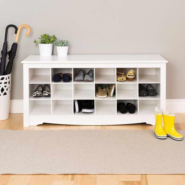 Prepac 白色款18格鞋柜 104.97加元,原价229.99加元,包邮