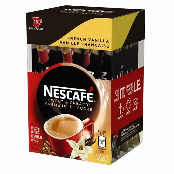 NESCAFÉ 雀巢香甜奶油 法式香草 免煮速溶咖啡(108小袋装) 31.18加元包邮!单杯仅0.29加元!3款可选!