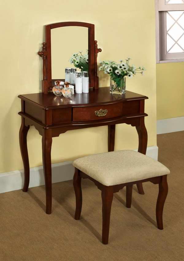 Furniture of America Priscille 樱桃色复古梳妆台桌椅两件套5.4折 212.4元限时特卖并包邮!