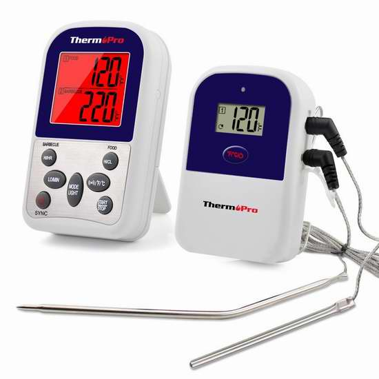 ThermoPro TP-12 无线远程双探头温度计\计时器 39.99加元限量特卖并包邮!