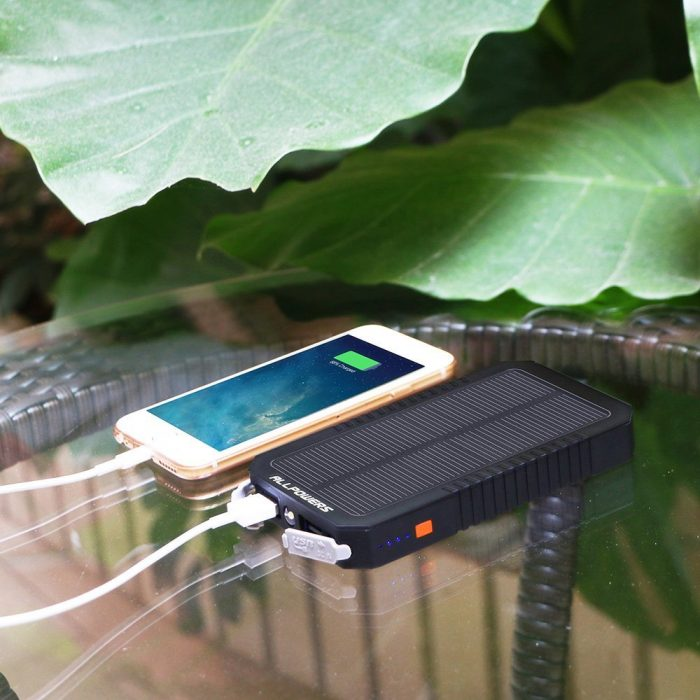 ALLPOWERS 12000mAh 双USB便携式防水太阳能移动电源/充电宝 27.99元特卖,原价 49.99元,包邮