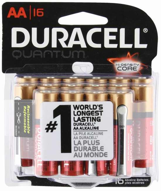 历史最低价!全球第一顶级高效碱性电池!Duracell Quantum 金霸王 AA 电池16只装5.7折 11.47元限时特卖!