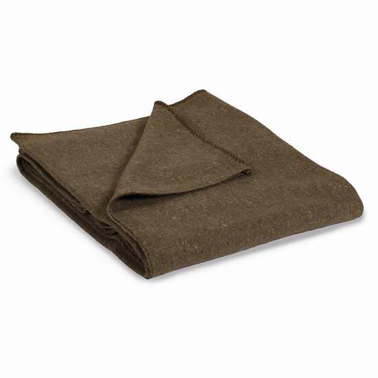 Stansport 橄榄绿羊毛混纺露营毯7.3折 19.09元限时特卖!