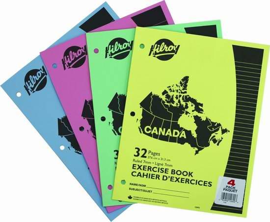 Hilroy Canada 32页3孔学生练习册/作业本4件套5折 0.99加元!
