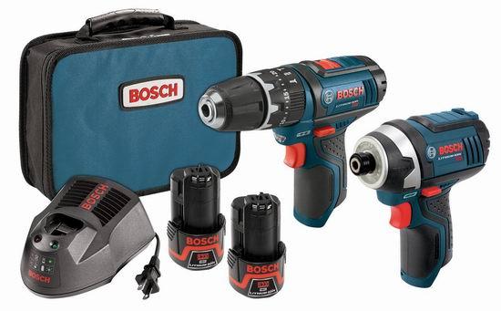 手慢无!历史新低!Bosch 博世 CLPK241-120 12伏 PS130 三合一电钻 + PS41 冲击起子 + 双锂电套装2.8折 119.89加元包邮!