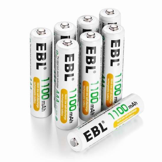 EBL 1100mAh Ni-MH AAA镍氢充电电池8只装16.99元限量特卖并包邮!