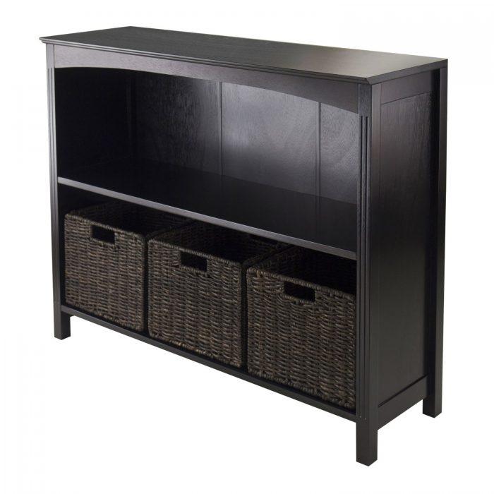 Winsome 双层木制收纳柜+3个藤编收纳篮 157加元,原价 212.09加元,包邮