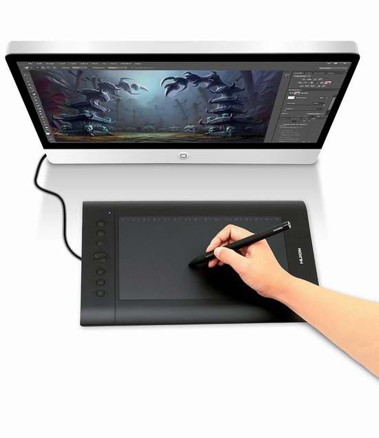Huion 绘王 H610 Pro 专业级2048级压感 大尺寸电脑绘图平板+手套+保护套 53.49加元限量特卖并包邮!