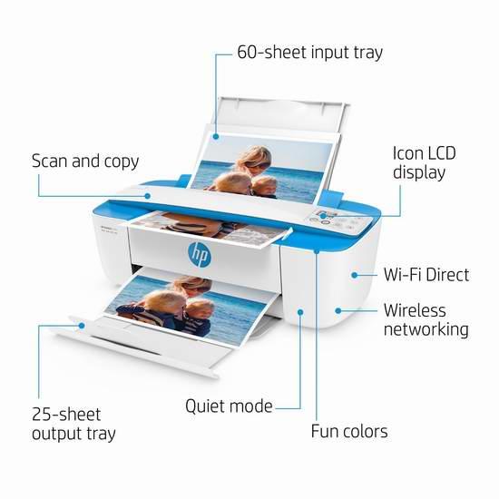 HP 惠普 DeskJet 3755 多功能一体无线喷墨打印机 69.99加元包邮!