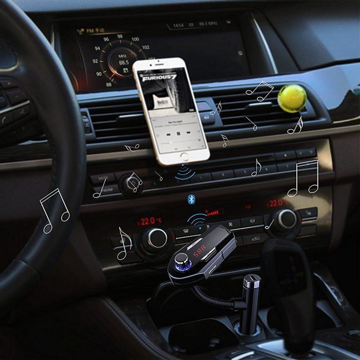 Habor 无线蓝牙车载FM调频转换器+全音控免提电话+双USB充电插口 29.99元限量特卖,原价 36.99元,包邮