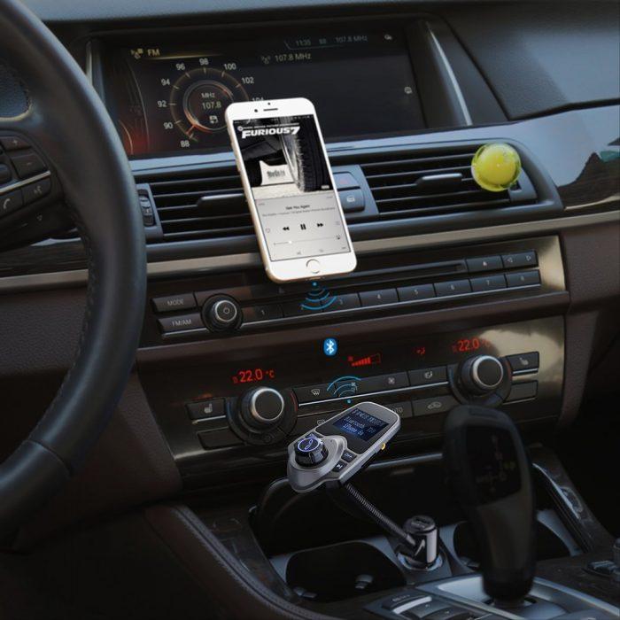 Habor无线蓝牙车载FM调频转换器+全音控免提电话+双USB充电插口 20.99加元限量特卖,原价 34.99加元