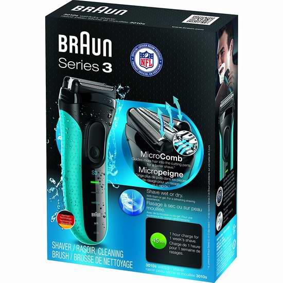 Braun 德国博朗 新3系 3010s 男士电动干湿剃须刀5折 49.99加元包邮!