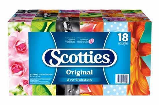历史最低价!Scotties 双层面巾纸(126张 x 18盒)超值装 14.97加元限时特卖!